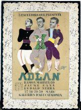 «Tres escultors que presenta ADLAN» (1935). Cartell original de Salvador Ortiga. Fundació Palau. Caldes d'Estrac.
