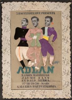 Tres escultors que presenta ADLAN (1935) cartell original de Salvador Ortiga