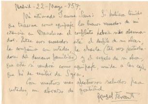 Carta d'Ángel Ferrant enviada a Jaume Sans (22 de maig de 1957)